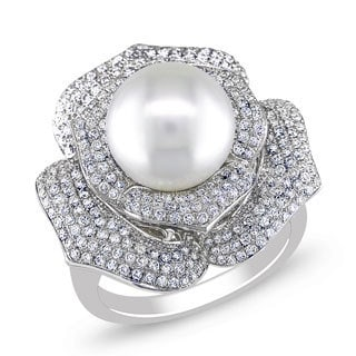 Miadora Signature Collection 14k White Gold Round South Sea Pearl and 1ct TDW Diamond Ring (G-H, SI1-SI2)