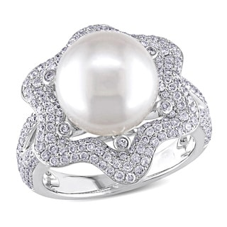 Miadora 14k White Gold South Sea Pearl and 1ct TDW Diamond Ring (G-H, SI1-SI2)