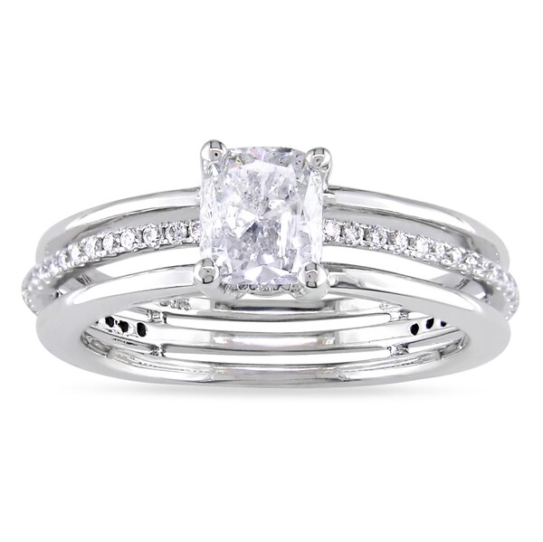 Miadora 14k White Gold 1 1/4ct TDW Diamond Engagement Ring (F-G, I1-I2)