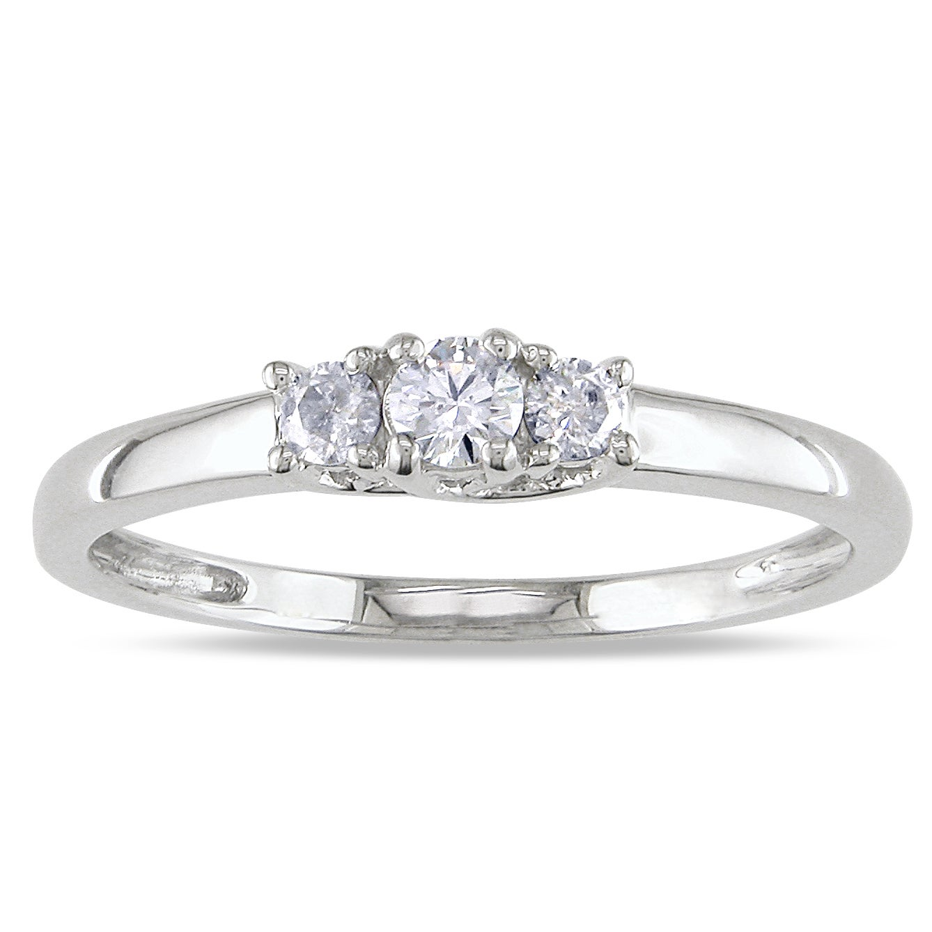 14k White Gold 1/4ct TDW Diamond Three Stone Ring (G-H, SI1-SI2)