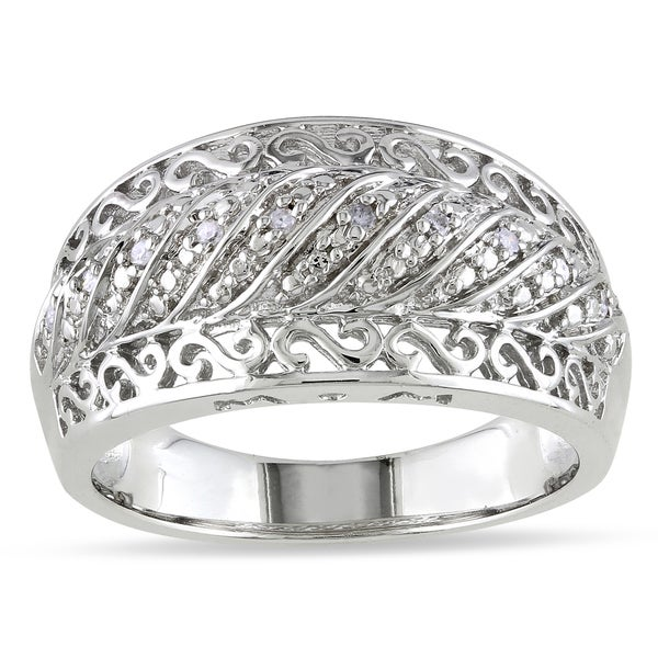 Haylee Jewels Sterling Silver Diamond Accent Design Ring