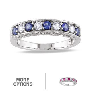 Miadora 10k White Gold Sapphire and Multi-gemstone Fashion Ring