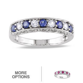 Miadora 10k White Gold Sapphire and Multi-gemstone Anniversary Ring