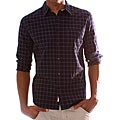 Long-sleeve 191 Unlimited Men's Blue Plaid Snap-button Shirt