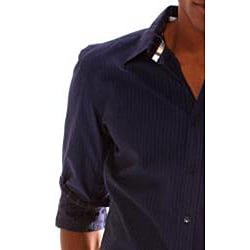 191 Unlimited Men's Blue Stripe Woven Shirt