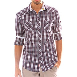 191 Unlimited Men's Purple Plaid Snap-button Shirt