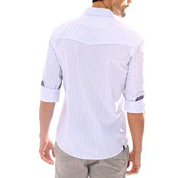 191 Unlimited Men's White Stripe Snap-button Shirt