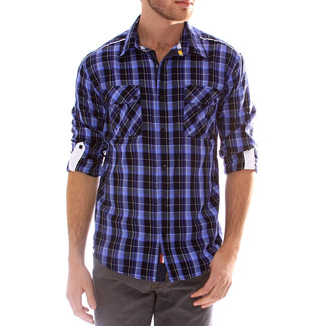 191 Unlimited Men's Blue Plaid Convertible Sleeve Shirt