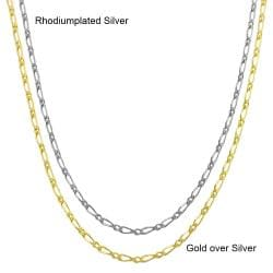 Fremada Sterling Silver 18-inch Alternate Link Figaro Chain