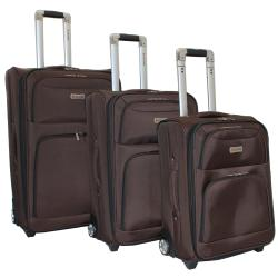 Dejuno Coffee Brown Luxury 3-piece Expandable Upright Luggage Set