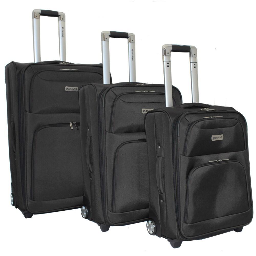 Overstock.com Dejuno Black Luxury 3-piece Expandable Upright Luggage Set at Sears.com