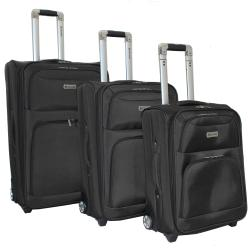 Dejuno Black Luxury 3-piece Expandable Upright Luggage Set