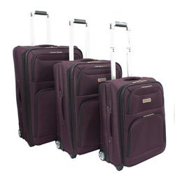 Dejuno Purple Luxury 3-piece Expandable Upright Luggage Set