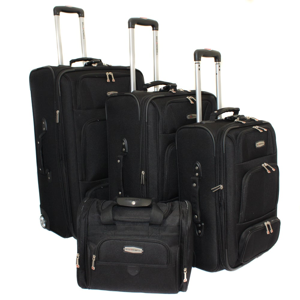 Bell + Howell Black Quick Access 4-piece Expandable Luggage Set