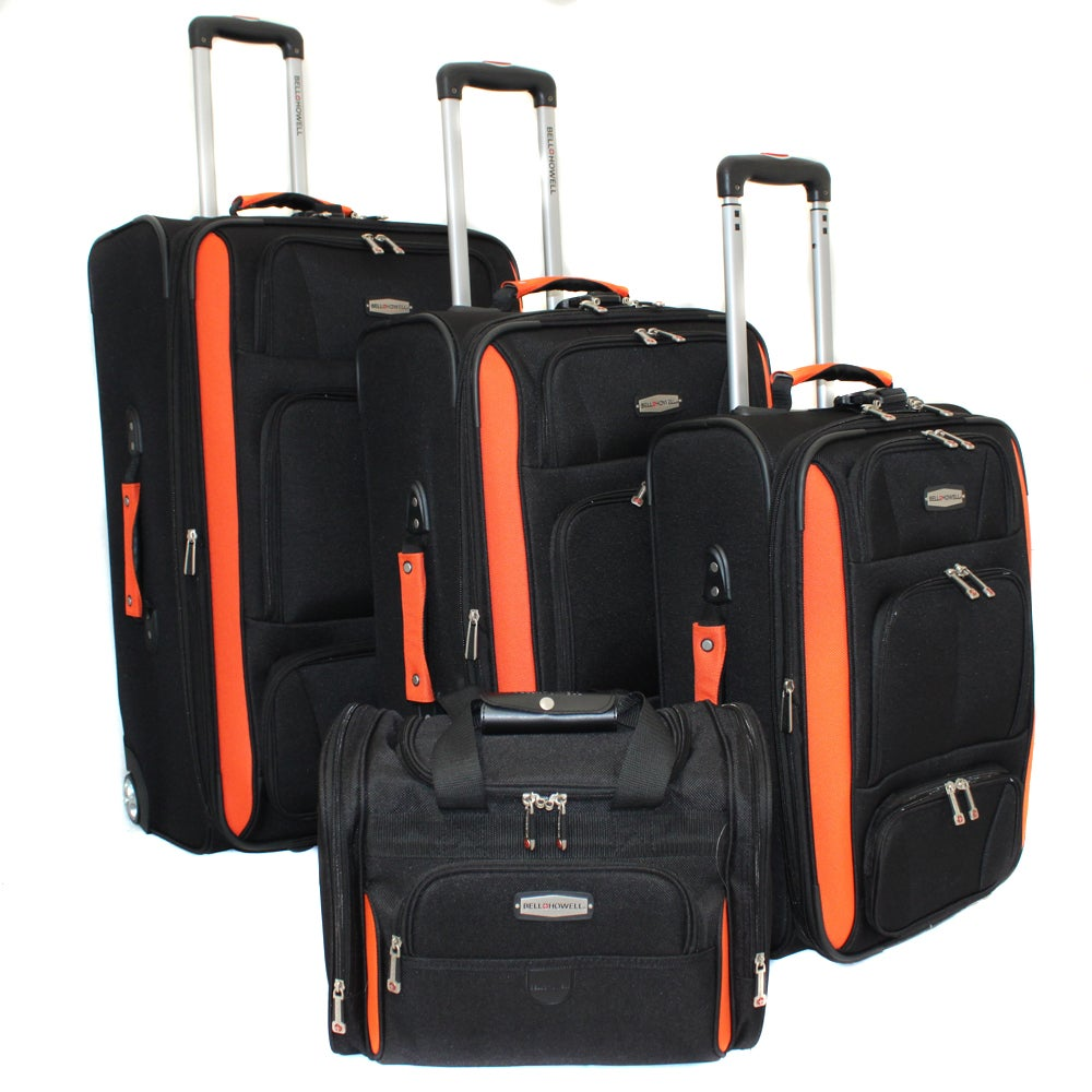 Bell + Howell Orange Quick Access 4-piece Expandable Luggage Set