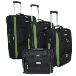 Bell + Howell Herb Green Quick Access 4-piece Expandable Luggage Set