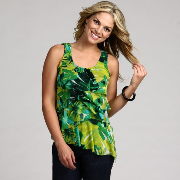 Chaus Women's Amazon Leaves Tiered Ruffle Top