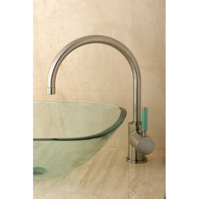 Green Lever High Arc Satin Nickel Vessel Faucet