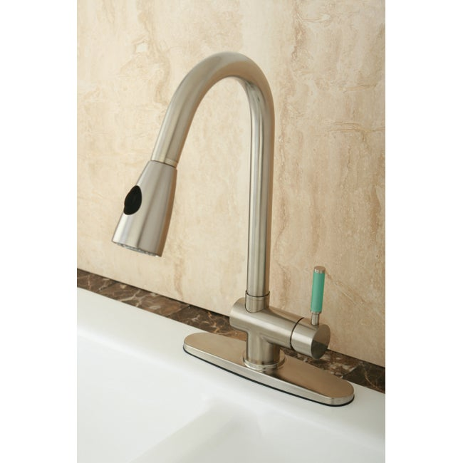 Green Handle Satin Nickel Single Lever Pull-down Sprayer
