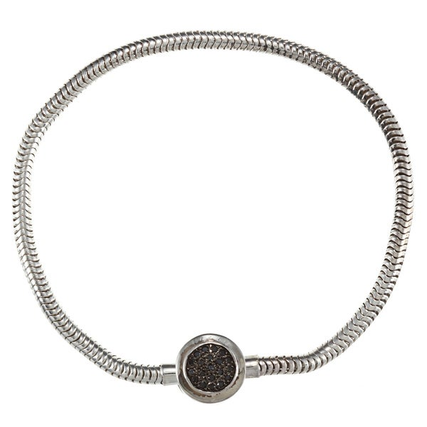 Sterling Silver 1/10ct TDW Black Diamond Circle Bracelet