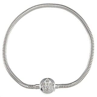 Sterling Silver White Diamond Fleur de Lis Bracelet