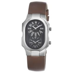 Philip Stein Women's 2-MB-IBZ 'Signature' Bronze Silk Strap Dual Time Watch