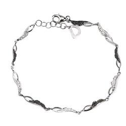De Buman Sterling Silver and Round-cut Black Diamond Link Bracelet
