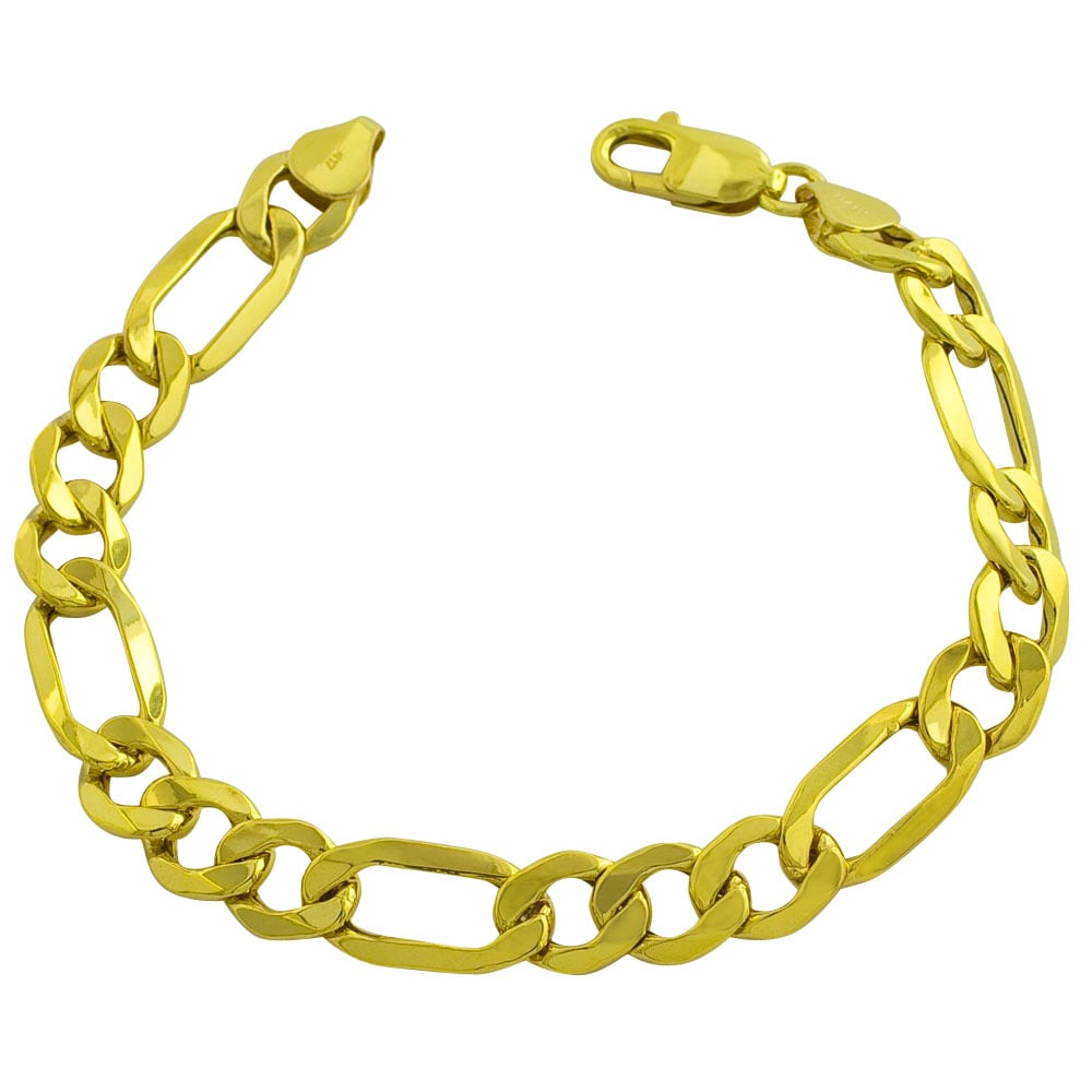 Fremada 10k Yellow Gold Men's 8.25-inch Classic Figaro Bracelet