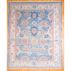 1950s Persian Hand-knotted Vegetable Dye Mahal Light Blue/ Ivory Wool Rug (12'6 x 15'6)