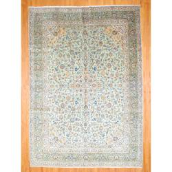 Persian Hand-knotted Kashan Light Green/ Navy Wool Rug (11'5 x 16')