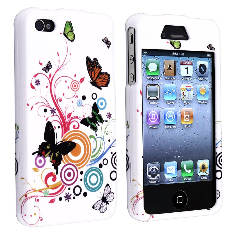 INSTEN White Autumn Flower Snap-on Rubber Coated Phone Case Cover for Apple iPhone 4/ 4S