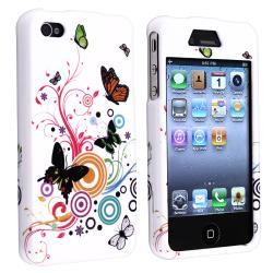 White Autumn Flower Snap-on Rubber Coated Case for Apple iPhone 4/ 4S