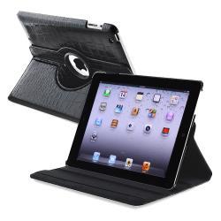 Black Crocodile 360-degree Swivel Leather Case for Apple iPad 2/ 3