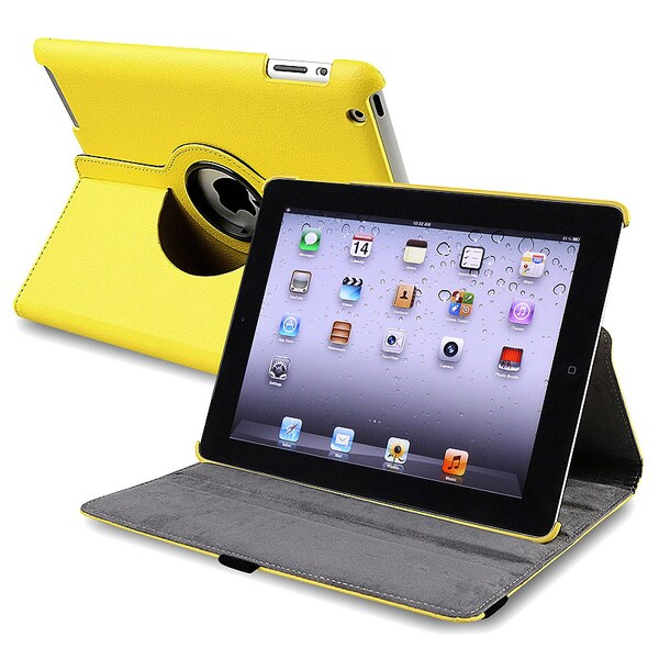 Yellow 360-degree Swivel Leather Case for Apple iPad 2/ 3