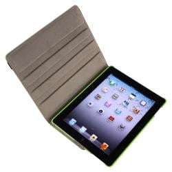 Green 360-degree Swivel Leather Case for Apple iPad 2/ 3