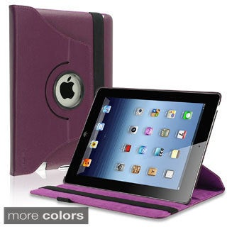 Hot Pink 360-degree Swivel Leather Case for Apple iPad 2/ 3