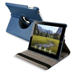 Navy Blue 360-degree Swivel Leather Case for Apple iPad 2/ 3
