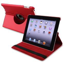 Red 360-degree Swivel Leather Case for Apple iPad 2/ 3/ 4