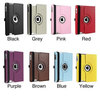 360-degree Swivel Leather Case for Apple iPad 2/ 3/ 4