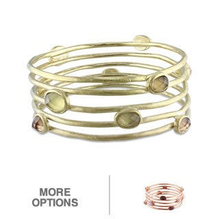 Miadora Goldplated Gemstone 8-inch Bangle Bracelet