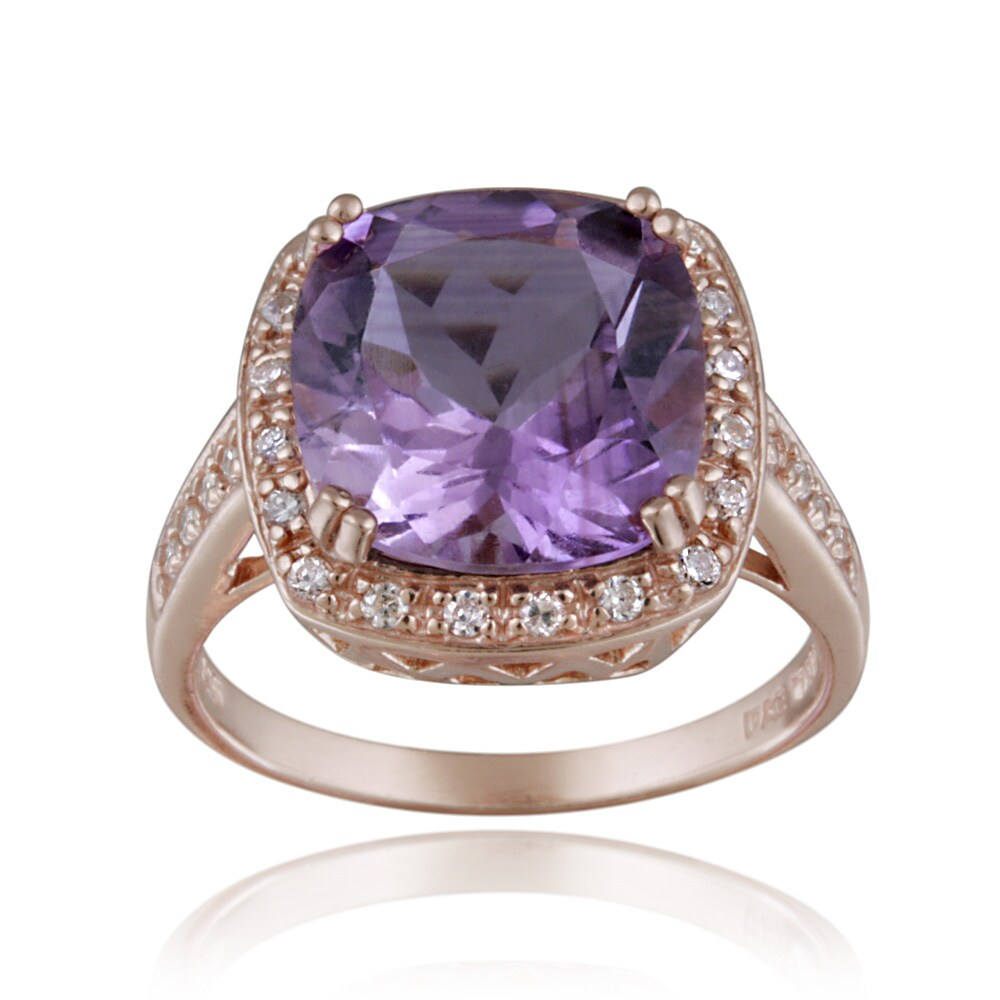 Glitzy Rocks Rose Gold over Silver 10 3/4ct TGW Amethyst and CZ Square Ring