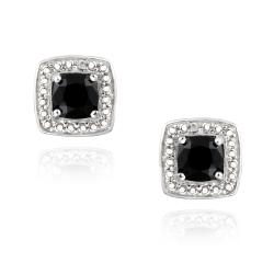 Glitzy Rocks Sterling Silver Black Spinel and Diamond Accent Earrings