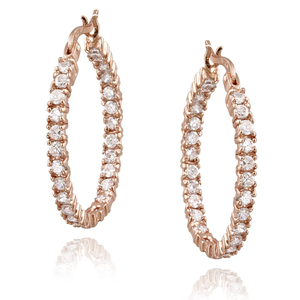 Icz Stonez Rose Gold over Silver 3 1/4ct TGW Cubic Zirconia Earrings