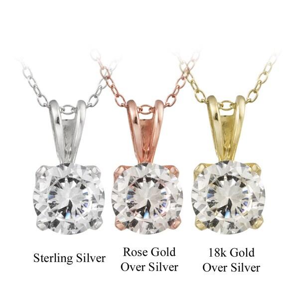 Icz Stonez Silver 3 1/2ct TGW Cubic Zirconia Solitaire Necklace