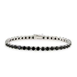 Glitzy Rocks Sterling Silver 14 3/4ct TGW Black Spinel Tennis Bracelet