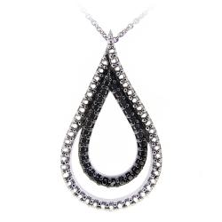 DB Designs Sterling Silver Black Diamond Accent Double Teardrop Necklace