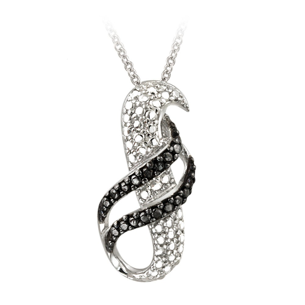 DB Designs Sterling Silver Black Diamond Accent Swirl Necklace