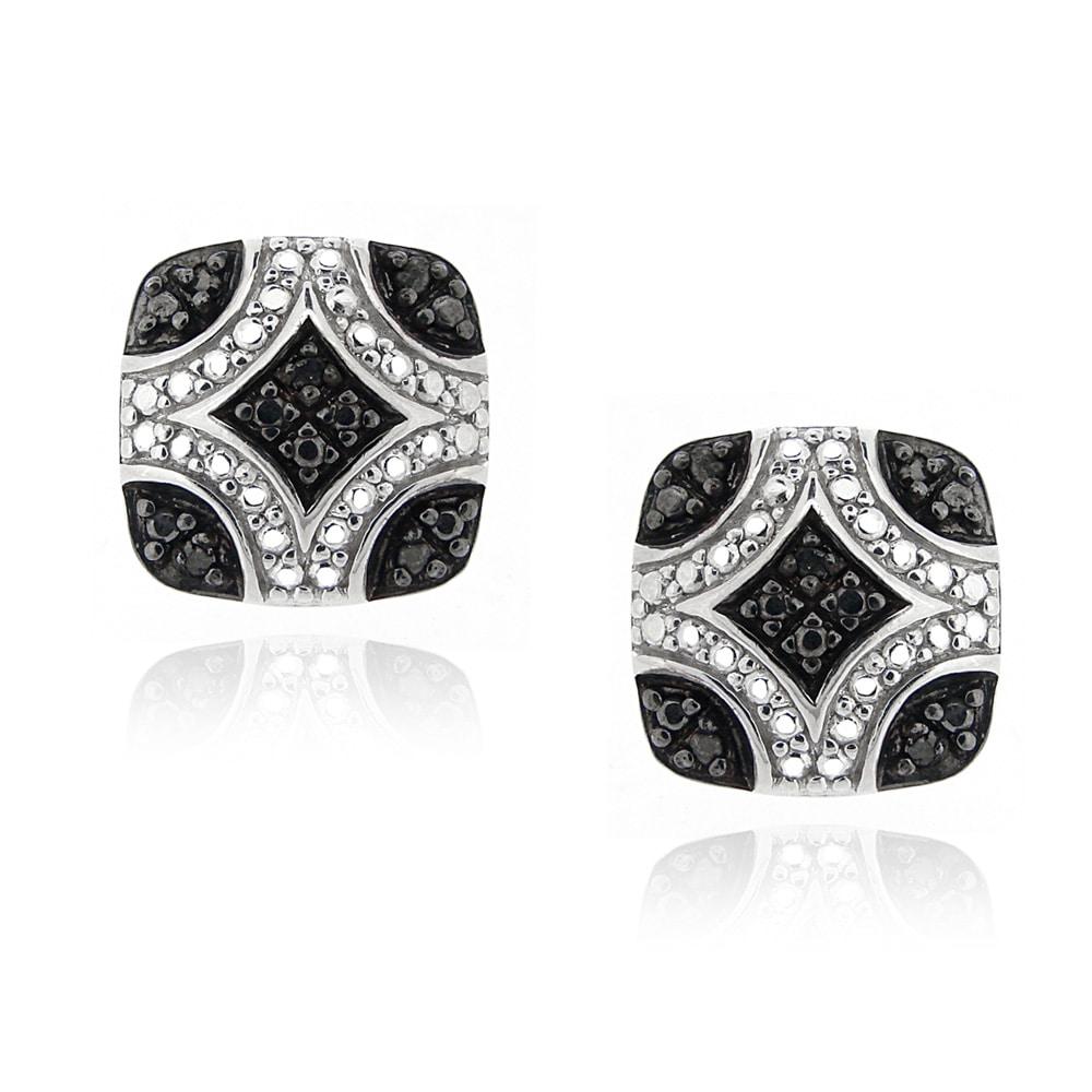 DB Designs Sterling Silver 1/10ct TDW Black Diamond Square Earrings