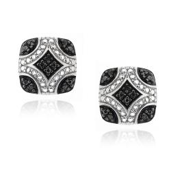 DB Designs Sterling Silver 1/10ct TDW Black Diamond Square Earrings