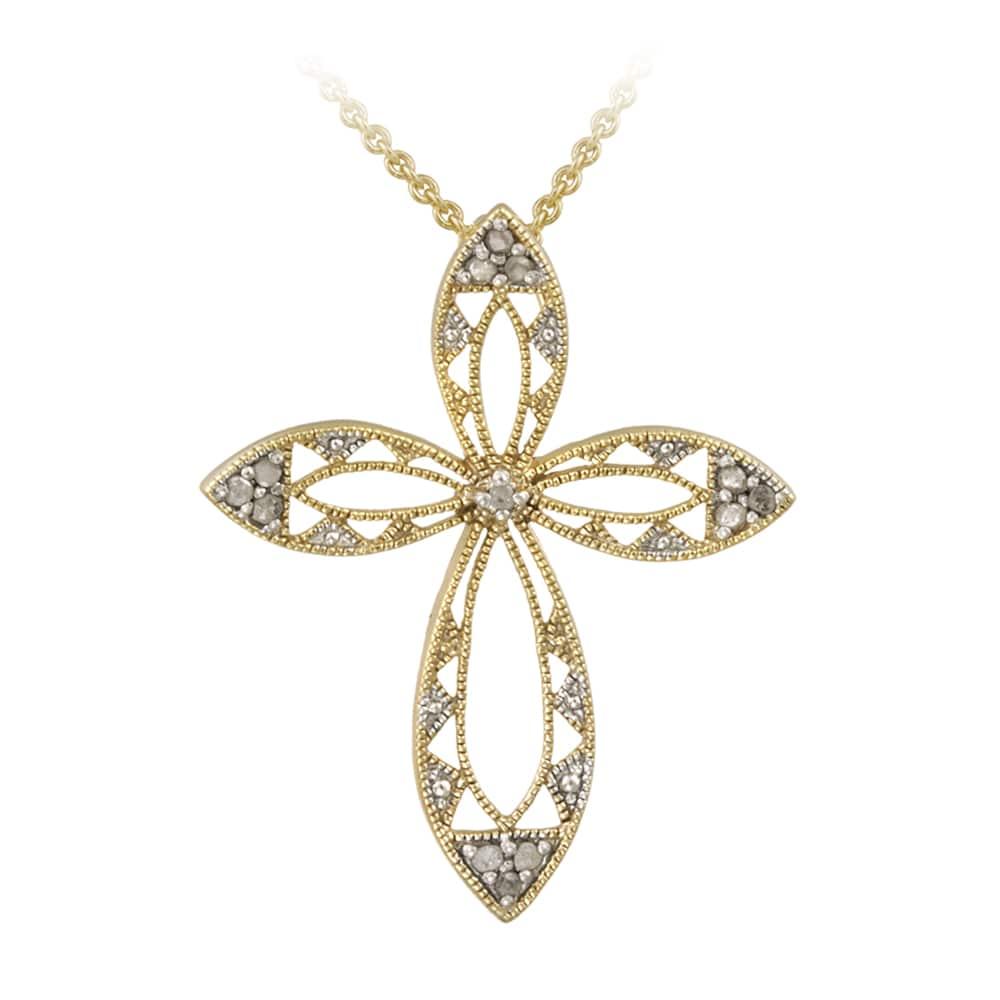 DB Designs Sterling Silver 1/8ct TDW Diamond Milligrain Cross Necklace